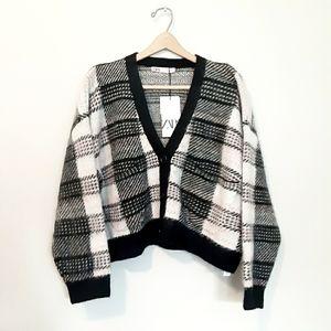 New ZARA Plaid Oversized Cardigan Sweater